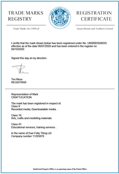 A picture of the trademark registration certificate for Craftucation