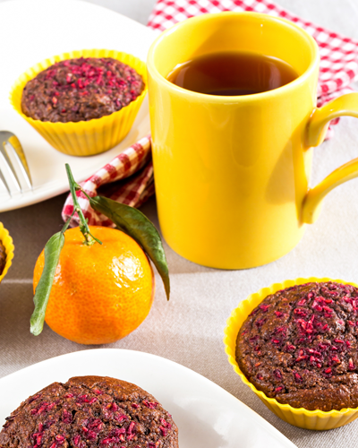 a bright and cheerful picture with cakes and a bright yellow mug of tea