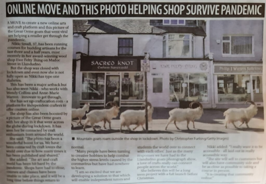 Photograph of Daily Post article on Ewe Felty Thing and Craftucation