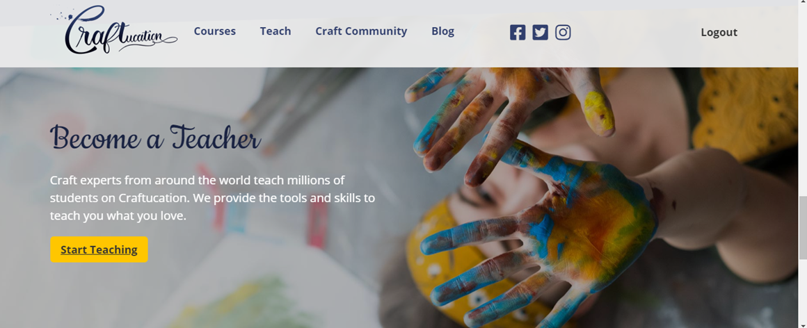 Part view of the Craftucation web site showing the Become a Teacher option
