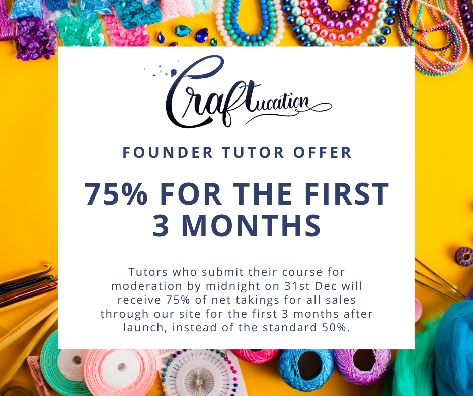 A picture showing the Craftucation founder tutor offer which is detailed in the text below